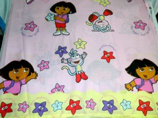 Original 2002 Dora The Explorer Boots The Monkey Twin Flat Sheet Fabric Star