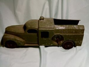 Hubley Bell Telephone 478 Kiddie Toy Truck Metal Cast Antique Kids Childs Toys