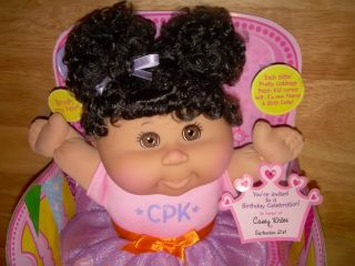 Jakks Sittin' Pretty CPK Cabbage Patch Kids Doll w Black Hair Brown Eyes