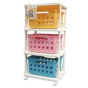 Plastic 3 Tier Basket Rolling Tower Kid's Toy Clothes Storage Cart KBR 030