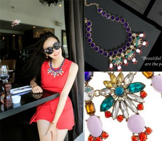 Luxury Noble Sparkle Crystal Rhinestone Floral Pendant Party Statement Necklace