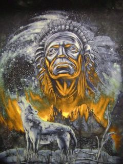 XL T Shirt Indian Chief Wolf Naturewear