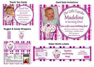 Lil Lil' Little Cupcake Birthday Party Ticket Invitations Supplies Favors