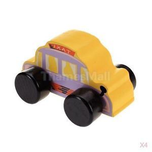 4X Orange Wooden Taxi Cab Car Kids Children Play House Game Toy Perfect Gift