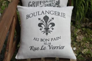 Antique Vintage French Linen Printed Grain Feed Sack Cushion Pillow Cover