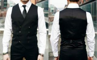 New Men's Slim Fit Casual Formal Dress Vest Suits Tops Gray Black M XXL