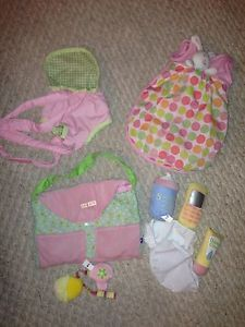 Manhattan Toy Co Baby Stella Doll Diaper Bag Accessories Sleep Sack Back Carrier
