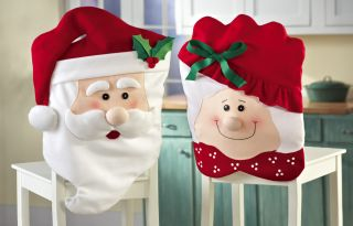 Mr Mrs Santa Claus Soft Christmas Kitchen Dining Room Chair Covers Home Decor