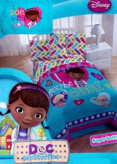 Doc McStuffins Cuddle Turquoise Twin Comforter Pillowsham 2pc Bedding Set New