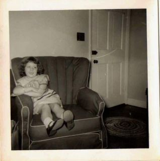 Old Vintage Antique Photograph Adorable Little Girl Sitting in Living Room Chair
