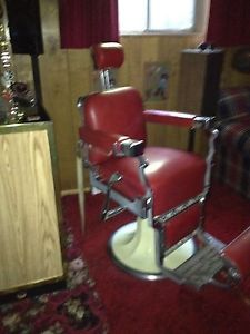 Vintage Koken Red Leather Upholstered Barber Chair Great Shape Need to See
