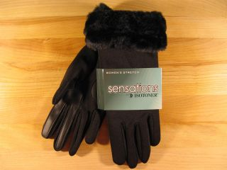 Sensations by Isotoner Stretch Lined Gloves Black with Fur Cuffs Small Medium