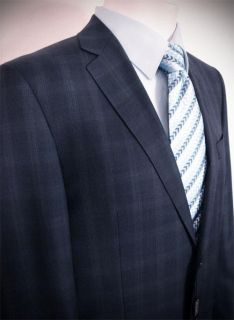 TIGLIO Navy Blue Plaid Men's Suit Size 44L 2BT Super 150's Wool Made in Italy