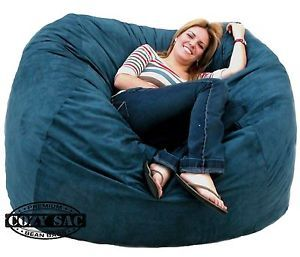 5' Foam Bean Bag Chair Navy Cozy Sack Large Micro Suede Love Seat Huge New