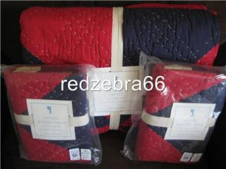 Pottery Barn Kids Red Navy Wesley Full Queen Quilt 2 Standard Shams Set New 3 PC