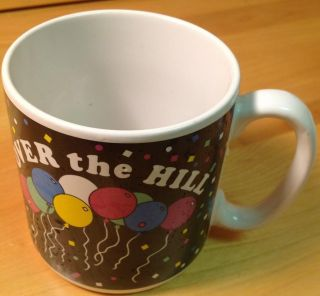 "Susan Burger Colorful Balloons ""Over The Hill"" Black White Ceramic Coffee Mug"