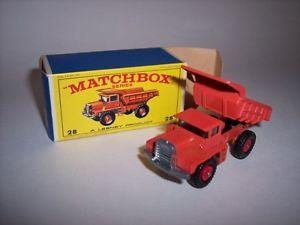 "28D Vintage 1960s Lesney Matchbox Car 28 Mack Dump Truck ""Red Hubs"" Mint"