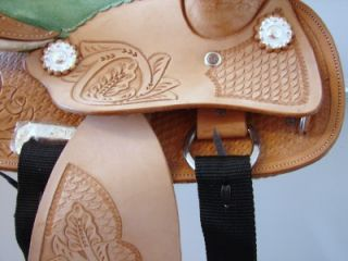 "8"" Lt Oil w Green Kid Western Trail Barrel Racer Saddle"