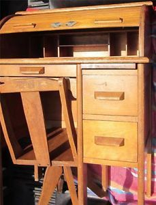 Antique Roll Top Desk with Original Swivel Chair Solid Oak
