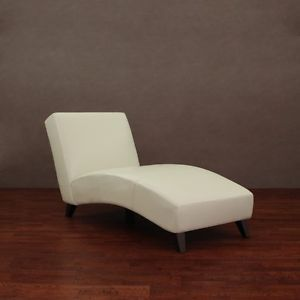 Cleo Creme Leather Contemporary Chaise Lounge Living Room Chair Off White Color