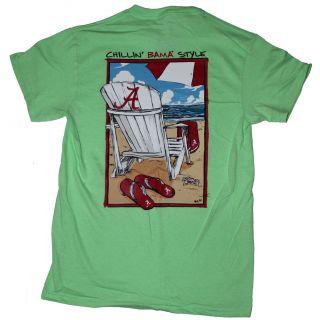 Alabama Crimson Tide Football T Shirts Chillin Bama Style on The Beach