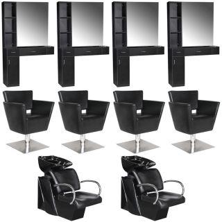 Beauty Salon Equipment Styling Station Chair Shampoo Backwash Unit Package EB 61