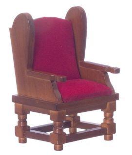 Doll House Mini Red Velevet Living Room Chair Sofa Furniture Elegant