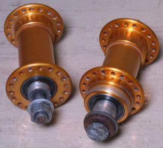 Old School BMX Bullseye SEALED Bearing Hubs Gold Anodized