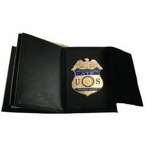ATF E Special Agent Badge Recessed Double ID Leather Wallet New