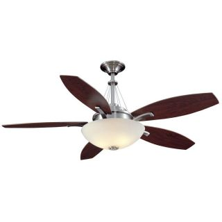 """Hampton Bay Brookedale 60"""" Ceiling Fan Brushed Nickel Remote Control Bowl Dome"""