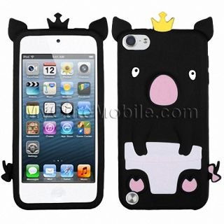 Apple iPod Touch 5g 5th Gen Case Black Crown Piggie Silicone Skin Cover Pouch