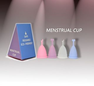 Menstrual Cup Big Small Pink Clear Blue Purple Reusable Women Girl