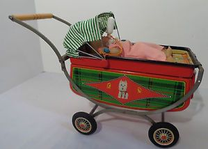 Battery Operated Toy Baby Carriage 1950's T N Co Japan Working
