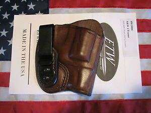ETW Holsters S W J Frame IWB holster w clip tuckable RH dark brown leather