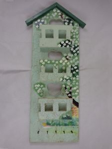 """Tiered Wooden Wall Rack Mail Organizer Holder 5 Key Hooks Shabby Country 18"""""""