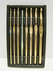 Vintage Boye Crochet Hooks Original Case 7 23K Gold Plated Hooks 1 Hero Hook