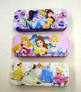 Walt Disney Princesses Tin Cases Pencil Boxes Set of 3 New Unused