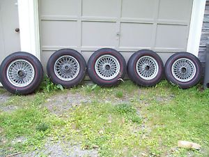 Triumph TR6 Wire Wheels with Tires Spinners and Spline Hubs