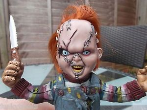 RARE Chucky Doll Scarred Face Horror Figure by McFarlane 1999 Movie Maniacs