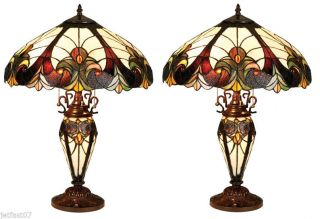 Set of 2 Tiffany Style Stained Glass Lighted Base Table Lamp Victorian Design