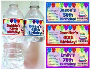 20 40th 50th 60th 70th Birthday Party Favors Water Bottle Labels Glossy
