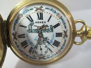 Arnex Swiss Hunter Case Gold Plated 17 Jewel Horse Pocket Watch