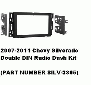 2007 2008 2009 2010 2011 Chevy Silverado Double DIN Radio Dash Install Kit