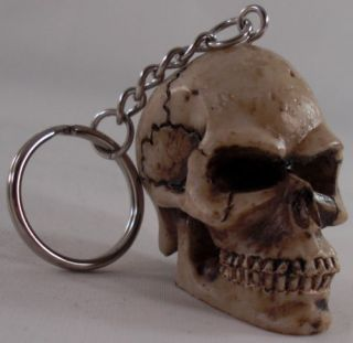 "Custom ""Human Skull"" Key Chain Hot Rat Rod Hotrod Ratrod Scary Carved Keychain"