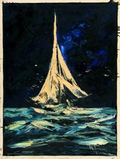 Willy Jäger Jager Signed Vintage Orig 1960s Oil Painting Sailboat Stormy Sea