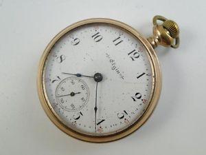 Antique 1800s Elgin Pocket Watch 18s Gold Filled Open Face Case 15 Jewel Vintage