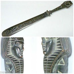 Antique Bronze Egyptian Revival Letter Opener King Tut Pharaoh Paper Knife
