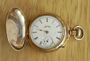 Antique 6 Size 13 Jewel Model 1 Elgin Hunter Case Boxed Hinged Pocket Watch