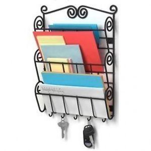 Genuine Lovely Scroll Wall Mount Mail Key Letter Holder Organizer Basket Rack