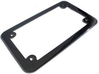 """Metal Deluxe """"Black Chrome"""" Motorcycle License Plate Frame Lic Tag Fastener"""